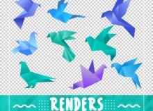 折纸风格造型的飞鸟、鸽子图案PS笔刷素材