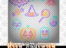 手绘线条图形蝙蝠、蜘蛛、棒棒糖、南瓜、骷髅头等图形PS笔刷素材(PNG格式)