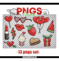13种红色爱心卡通饰品、可爱美图PS笔刷(png透明格式)