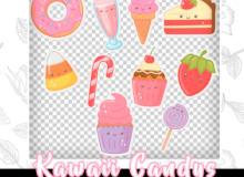纸杯蛋糕、草莓、甜甜圈、冰淇淋、棒棒糖等卡通PS笔刷(PNG)