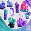 手绘水晶矿、紫金矿石、水晶图形PS笔刷(png)