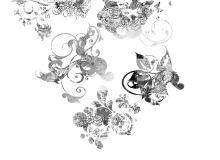 蝴蝶花纹图案、优美植物印花PS笔刷