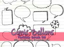 涂鸦式对话框、消息框、聊天框背景PS笔刷素材