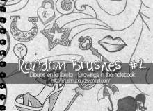童趣涂鸦爱心、高跟鞋、雨伞、嘴唇、锁等PS笔刷素材