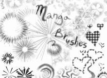爆炸式线条、放射状图案、烟花式印花、喷漆式鲜花图案PS笔刷素材