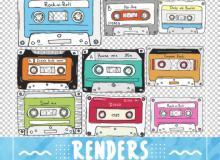 卡通磁带、可爱录音磁带PS笔刷素材
