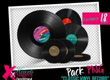 18种黑胶照片、老式唱片碟片图形PS笔刷素材(PNG图片格式)