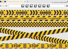 禁止通行横幅带子、警戒带PS笔刷素材(PNG图片格式)