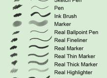 素描、钢笔、圆珠笔、荧光笔PS笔刷
