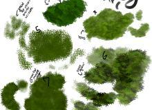 CG插画青草、草地纹理PS绘画笔刷