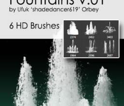 6种高清喷泉、水柱效果PS笔刷