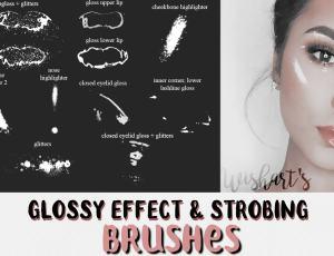 晶莹彩妆、女性花装、眼影、皮肤高光PS美妆笔刷素材