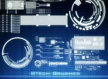 15种数码科技背景元素装饰PS笔刷