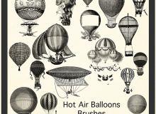 素描热气球、飞艇PS笔刷
