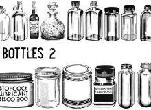 素描式玻璃瓶、瓶子PS笔刷