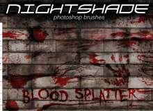 血液飞溅、油漆污渍涂抹纹理PS笔刷
