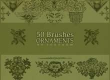 50种复古手绘印花系列PS笔刷素材