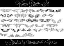 29种手绘魔鬼、天使、恶魔、鸟人等翅膀PS笔刷素材