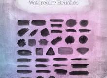 40种水笔涂抹纹理材质PS笔刷