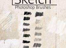 15种免费Photoshop素描式笔触笔刷