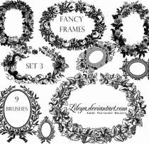 9种花圈、花环图案PS笔刷素材