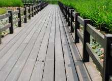 高清水塘木板走廊照片