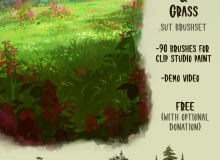 高品质草和树叶笔刷套装 –  Clip Studio Paint  素材