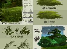 免费高级树木、树叶、叶子插画绘画笔触笔刷素材(也含有PS笔刷文件,CSP画笔)