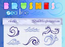 可爱手绘涂鸦海浪、波浪图像PS笔刷素材