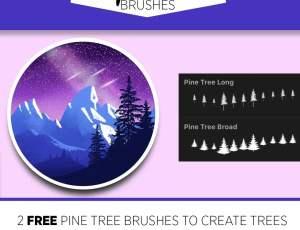 2个免费的Procreate树木笔刷素材下载