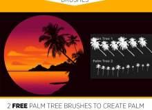 免费棕榈树剪影图像PS笔刷素材(同时含Photoshop笔刷文件和Procreate笔刷文件)