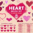 18种涂鸦爱心、恋爱心形图案PS笔刷素材