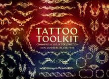 300种叠影纹身、刺青印花图案PS笔刷素材