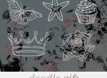 手绘涂鸦蝴蝶、海星、皇冠、玫瑰花PS图像笔刷