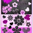 鲜花花朵图案、爱心泡泡素材PS笔刷下载