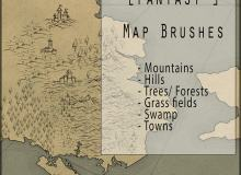 免费复古地图元素笔刷PS素材下载
