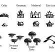 地图元素城堡、堡垒、山丘、树林等元素PS笔刷素材