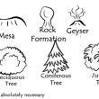 地图标记元素小山、火山、小树等PS地图笔刷
