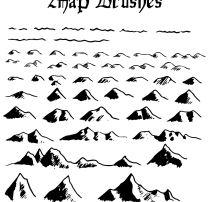 山岭、山脉、山丘效果PS地图元素笔刷