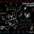光影线条魔鬼骷髅头、骨头、糖果、蝴蝶结PS涂鸦笔刷