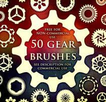 50种齿轮状印花花纹图案PS笔刷(带自定义样式风格.asl文件)