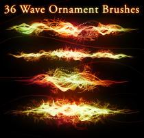 36种波浪式特效光影PS笔刷素材(带自定义样式风格.asl文件)