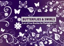 蝴蝶印花图案Photoshop笔刷素材