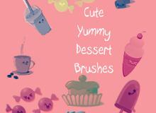 棒冰、咖啡、纸杯蛋糕、糖果等卡通图像PS笔刷