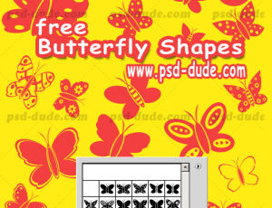 漂亮卡通蝴蝶图形PS笔刷下载(csh格式,自定义形状)