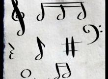 手绘涂鸦音符、乐符图案PS笔刷素材