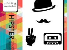 帽子、胡子、手势、墨镜、相机、耳机等PS图形笔刷