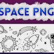 涂鸦卡通宇宙星球图案PS笔刷(PNG图片格式)