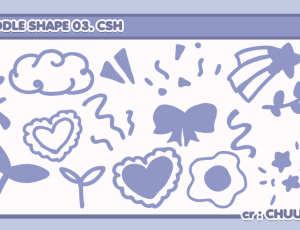童趣女生涂鸦装扮元素PS笔刷(csh格式,自定义形状)