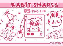 可爱小白兔卡通装扮PS笔刷(PNG图片格式)